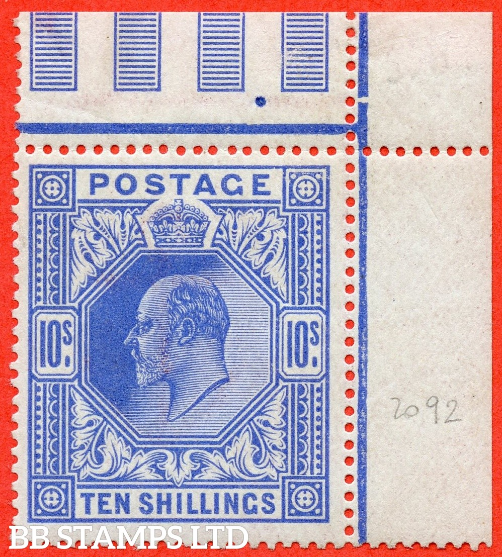SG. 319. Variety M54 (3). 10/- Deep Blue. A very fine UNMOUNTED MINT top right hand corner marginal example.