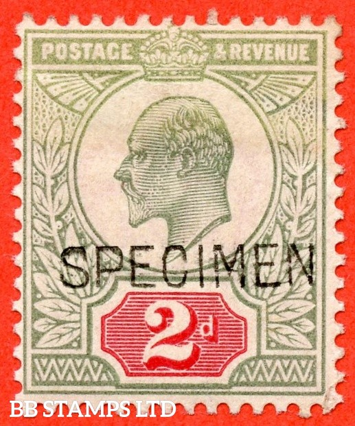 SG. 225 s. M11 (1) s. 2d Yellowish Green & Carmine Red. A fine mounted mint example overprinted SPECIMEN type 16.