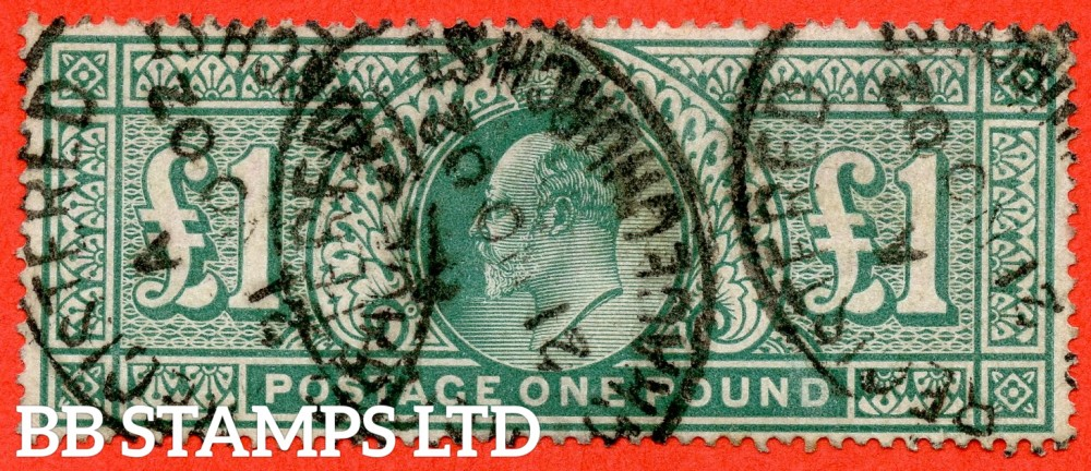 """SG. 266. M55. £1.00 dull blue - green. A good used example cancelled by a """" 21st October 1902 GRACECHURCH STREET """" oval registered cancel."""
