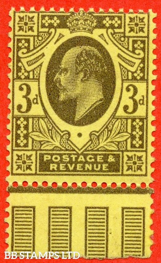 SG. 285a. M22 (3). 3d Grey/Lemon. A superb UNMOUNTED MINT bottom marginal example of this RARE Edwardian shade complete with RPS certificate. Ex. The superb collection of Lady Mairi Bury.