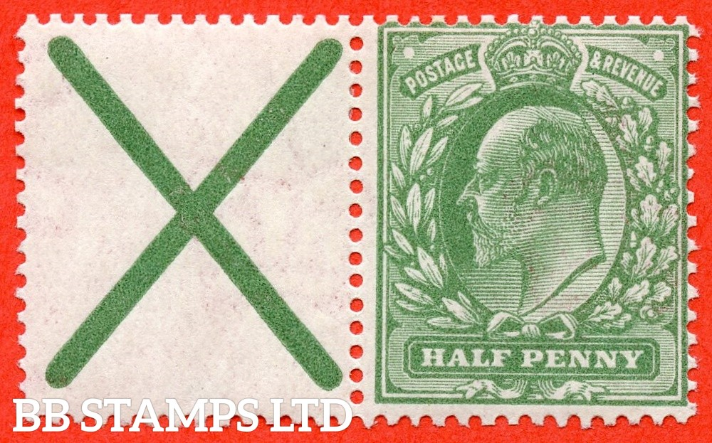SG. 270 a. M3 (2). MB4. ½d dull green. A fine mounted mint example with St. Andrew's cross label attached.