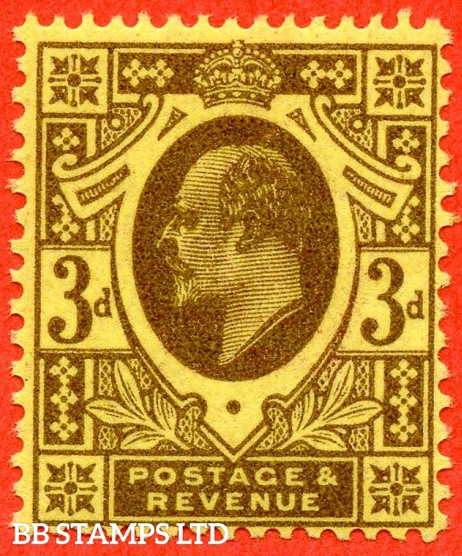 SG. 285 variety M22 (UNLISTED). 3d Deep Purple on Lemon. A superb UNMOUNTED MINT example of this known but unlisted by SG. Edwardian shade complete with HENDON certificate.