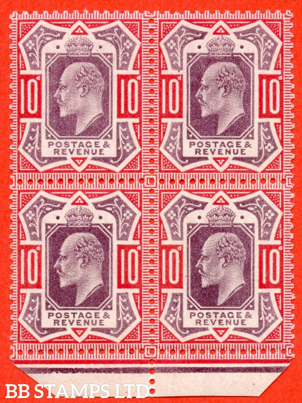 SG. 254 Variety M42 (3). 10d Slate Purple & Carmine Pink. A very fine UNMOUNTED MINT small part bottom marginal block of 4 of this scarce Edwardian shade variety complete with Brandon certificate.
