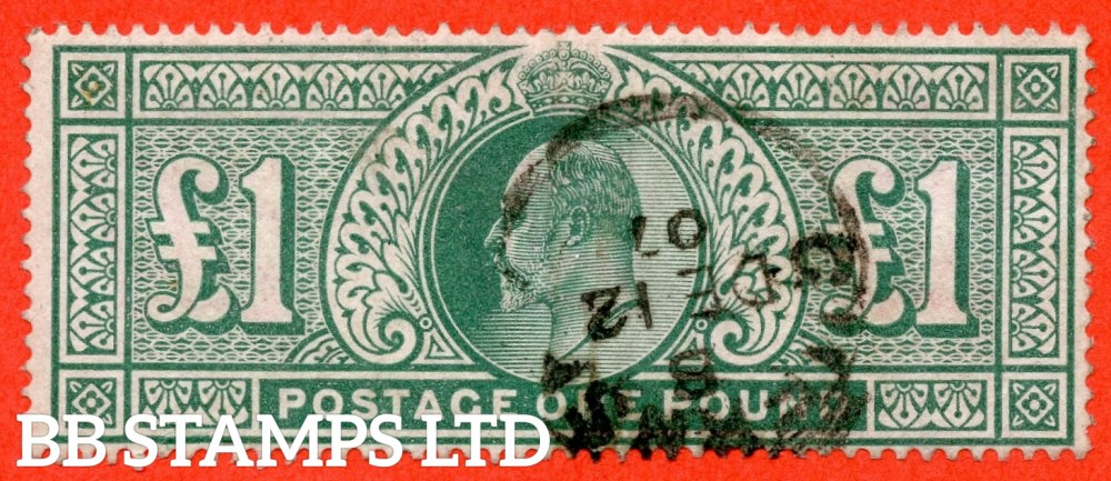 """SG. 266. M55. £1.00 Dull blue - green. A fine """" December 12th 1907 GUERNSEY """" CDS used example."""