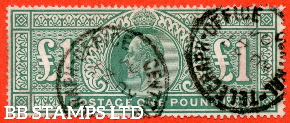 "SG. 266. M55. £1.00 Dull blue - green. A fine "" August 27th 1904 CENTRAL-TELEGRAPH-OFFICE "" CDS used example."