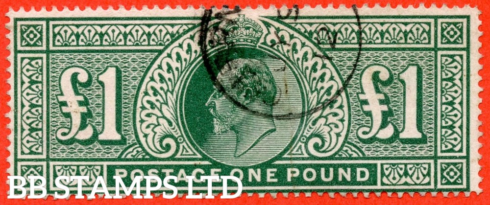 "SG. 320. M56. £1.00 Deep Green. A very fine "" July 9th 1912 GUERNSEY "" CDS used example."