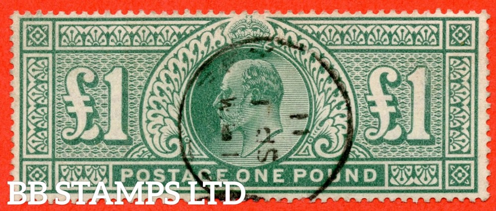 "SG. 266. M55. £1.00 Dull blue - green. A very fine "" September 1st 1911 "" CDS used example."