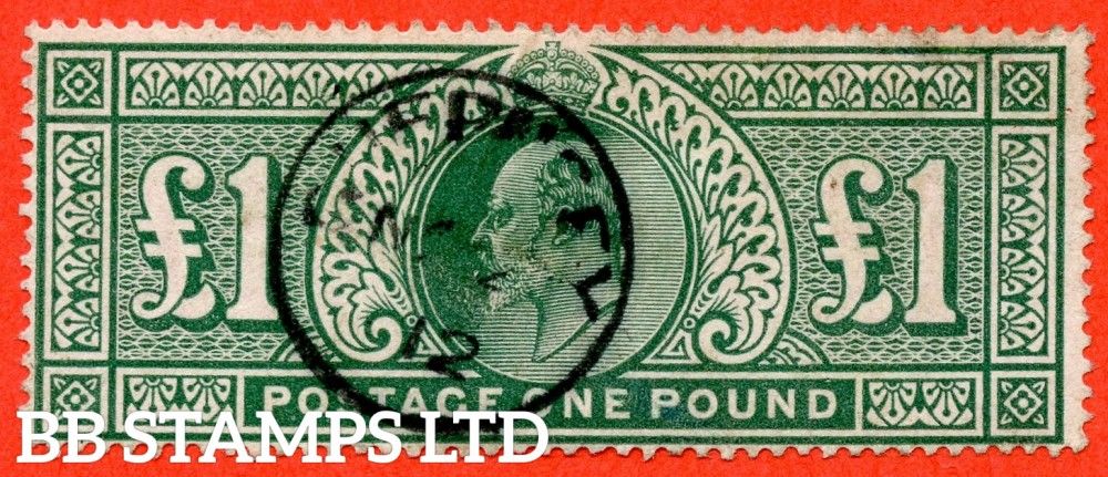 "SG. 320. M56. £1.00 Deep Green. A very fine "" November 1912 GUERNSEY "" CDS used example."