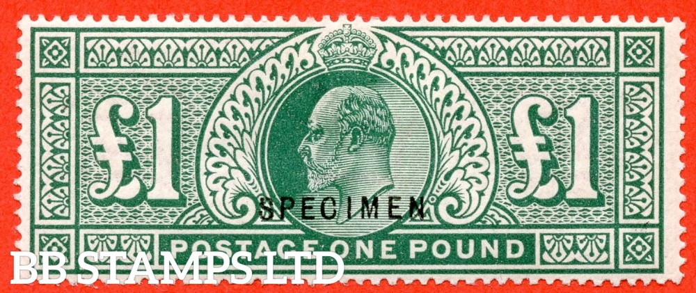 """SG. 320. M56 s. £1.00 Deep Green. A superb very fine mounted mint example overprinted """" SPECIMEN """" type 22. A very rare stamp."""