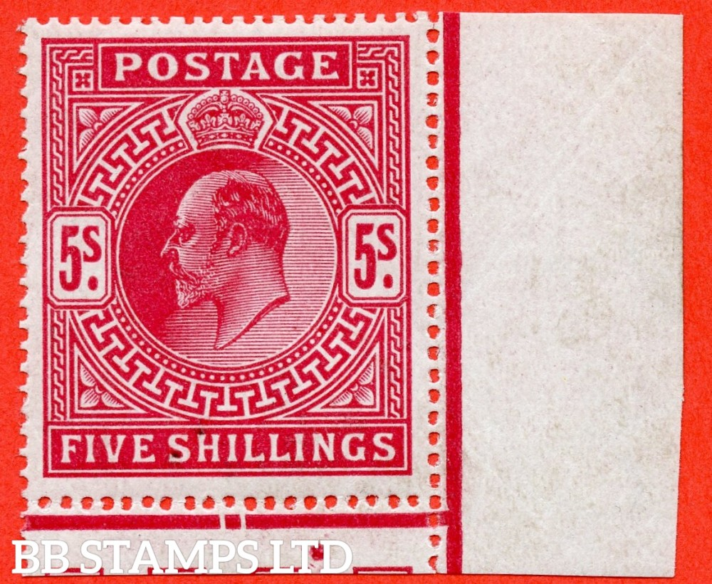 SG. 318 Variety M52 (1). 5/- Carmine Red. A very fine UNMOUNTED MINT bottom right hand corner marginal example.