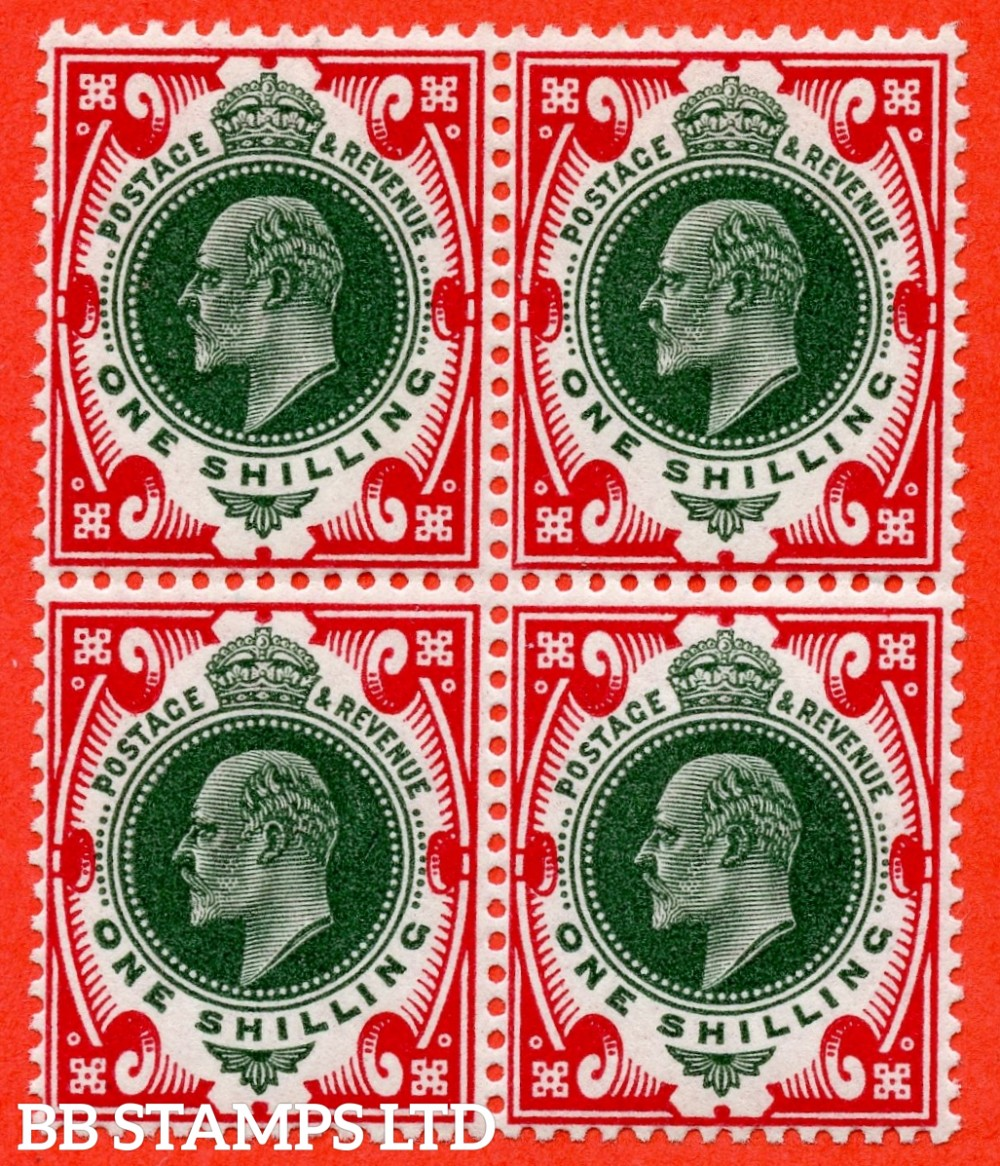 SG. 314. M47 (5). 1/- Green & Carmine. A superb UNMOUNTED MINT block of 4.