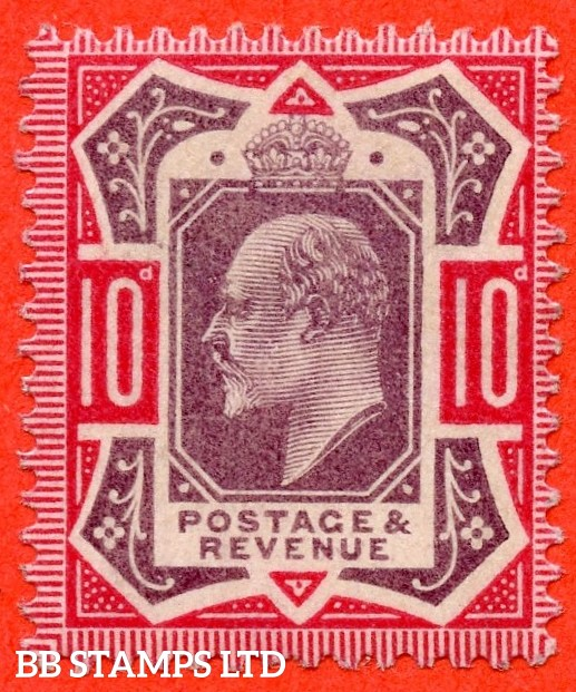 SG. 254 variety M42 ( UNLISTED ). 10d slate purple & bright carmine ( F ). A very fine UNMOUNTED MINT example of this scarce Edwardian shade which is unlisted by SG. Complete with Hendon certificate.