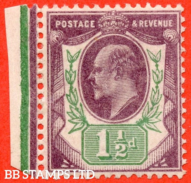 """SG. 222. M8 (2) e. 1½d Slate purple & green.  A fine mounted mint example with the RARE listed """" Deformed leaf ( Plate D4. Row 19/1 ) """" variety."""