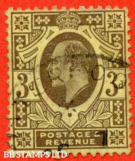 SG. 277. Variety M21 (2). 3d greyish purple / lemon Dull Reddish Purple/Lemon. A very fine part CDS used example of this very difficult used Edwardian shade.