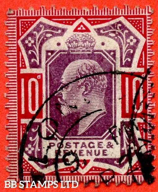 """SG. 255a. M43 (2) b. 10d slate purple & carmine ©. """" NO CROSS ON CROWN. A fine CDS used example of this difficult Edwardian variety."""