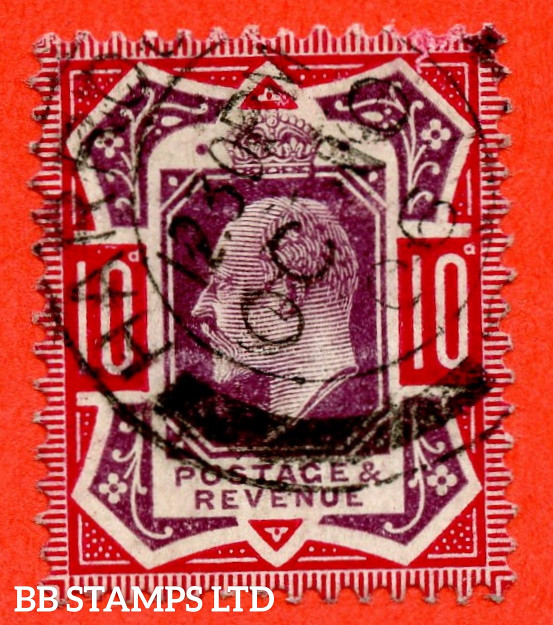 """SG. 255 variety M43 (4). 10d Slate Purple & (Glossy) Carmine ©. A very fine """" 10th October 1906 HARROGATE """" CDS used example of this VERY RARE Edwardian shade. Complete with RPS certificate."""
