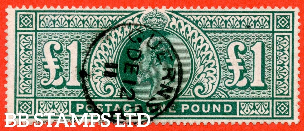 "SG. 320. M56. £1.00 Deep Green. A very fine "" December 12th 1911 GUERNSEY "" CDS used example."