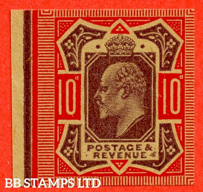SG. 254 M42 (1). 10d Dull Purple & Carmine. PLATE PROOF. A fine 4 margin left hand marginal example on poor quality buff paper.