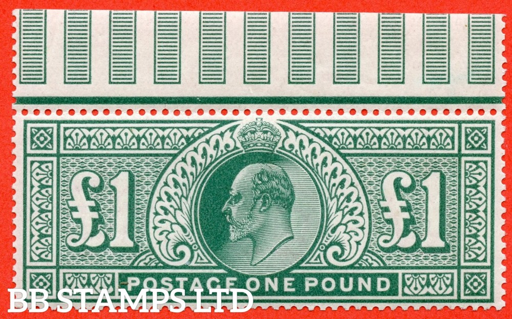 SG. 266. M55. £1.00 dull blue - green. A super UNMOUNTED MINT top marginal example.