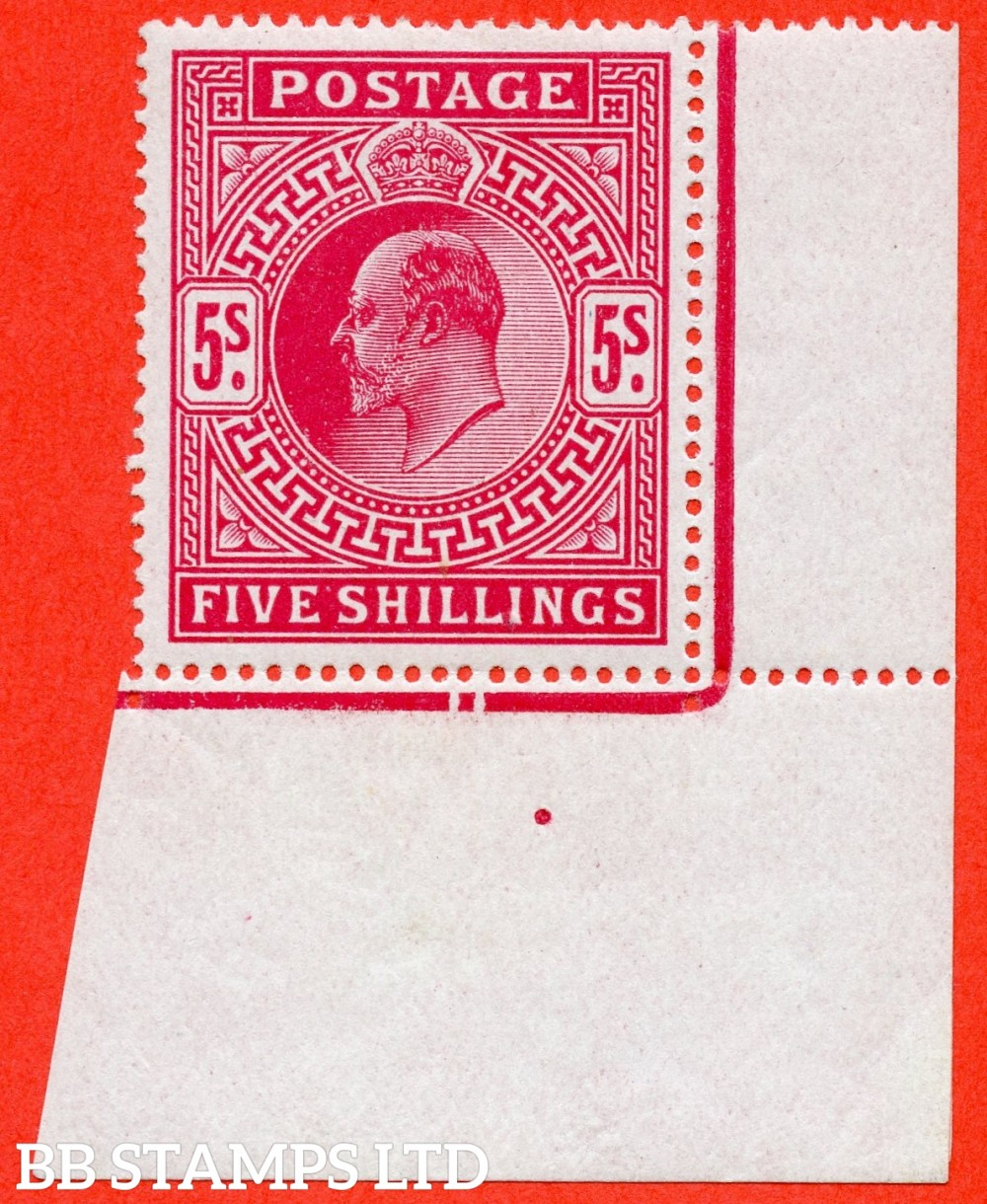 SG. 318. M52 (2). 5/- Carmine. A super UNMOUNTED MINT bottom right hand corner marginal example complete with RPS certificate.