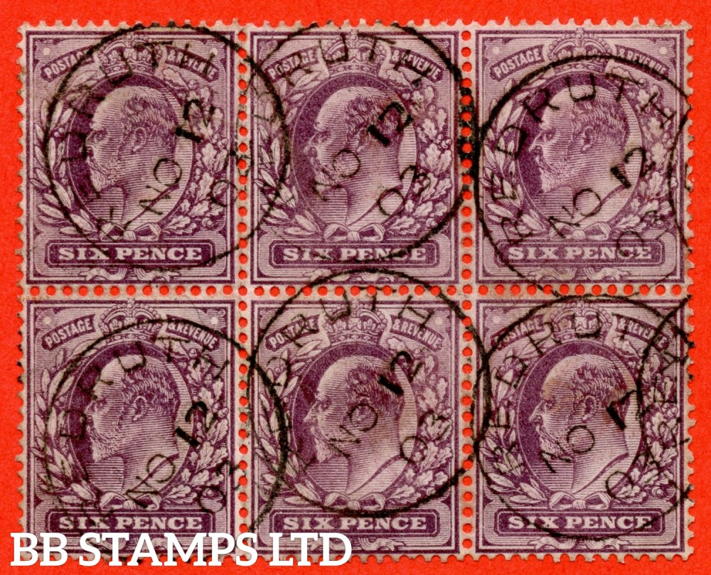 """SG. 246. M31 (2). 6d slate purple. A very fine """" 12th November 1903 REDRUTH """" CDS used block of 6. A scarce multiple."""