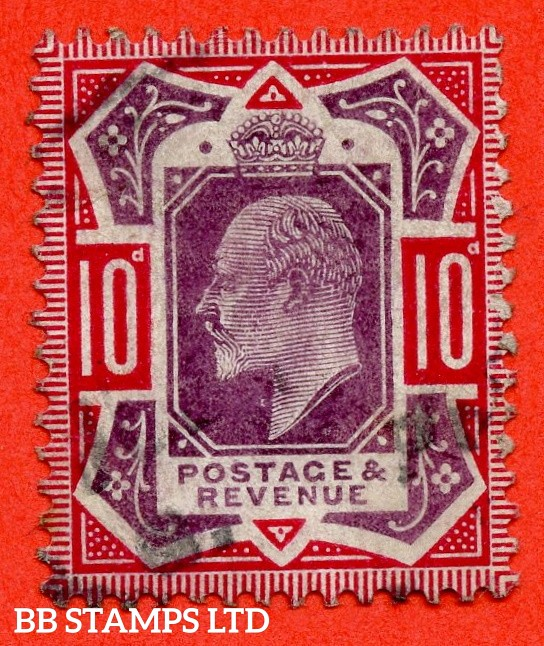 "SG. 255a. M43 (2) b. 10d slate purple & carmine ©. "" NO CROSS ON CROWN. A fine CDS used example of this difficult Edwardian variety complete with RPS certificate."