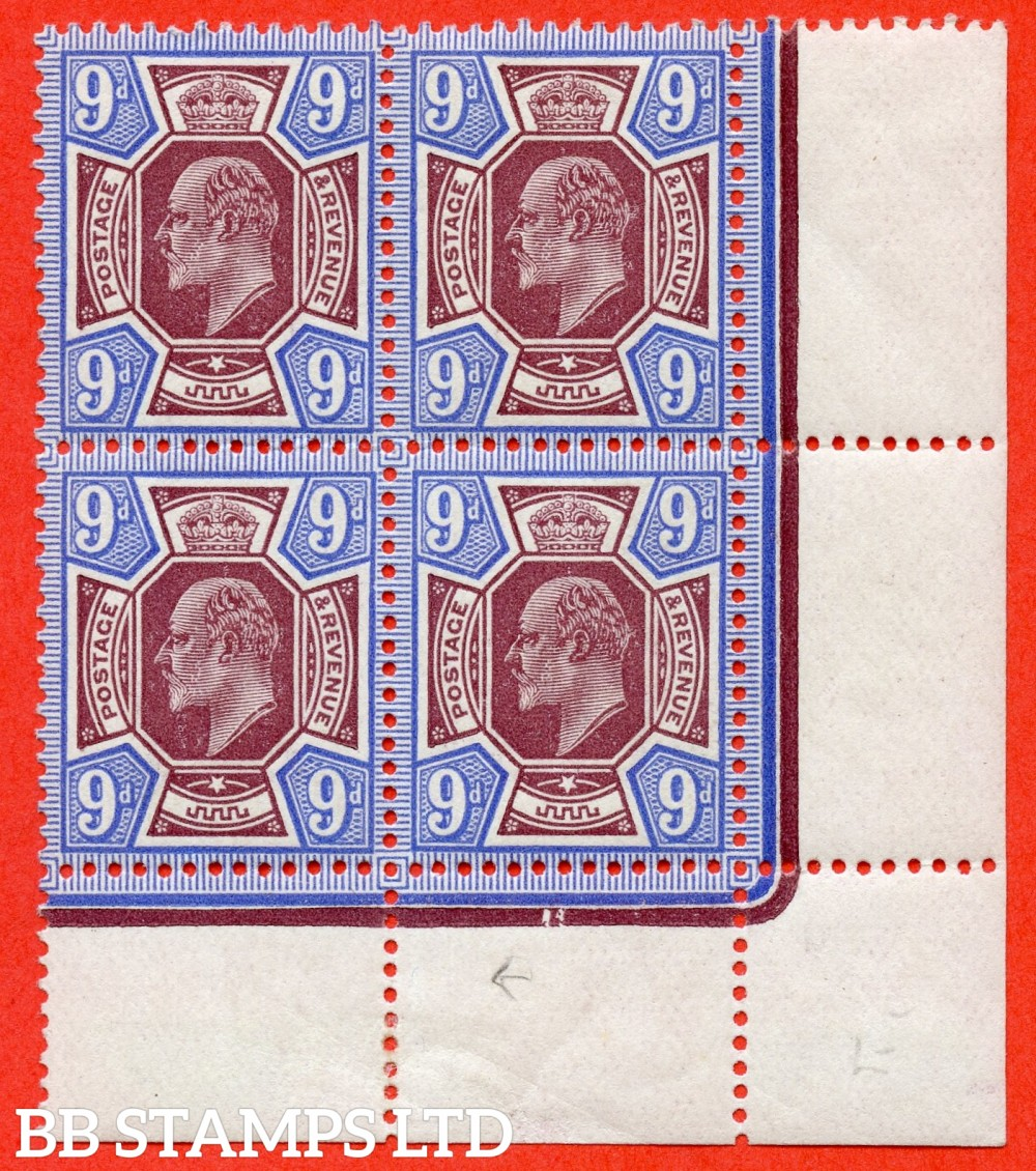 SG. 307. M41 (3). 9d Dull Reddish Purple & Blue. A fine mint ( 2 stamps UNMOUNTED MINT ) bottom right hand corner marginal block of 4.