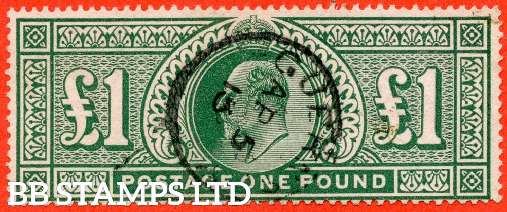 "SG. 320. M56. £1.00 Deep Green. A very fine "" April 5th 1913 GUERNSEY "" CDS used example."