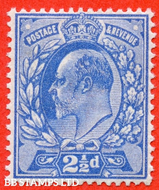 SG. 283 variety M18 ( UNLISTED ). 2½d TRUE BLUE ( NEW BLUE ). A fine UNMOUNTED MINT example of this known but unlisted by SG. Edwardian shade variety. Complete with Hendon certificate.