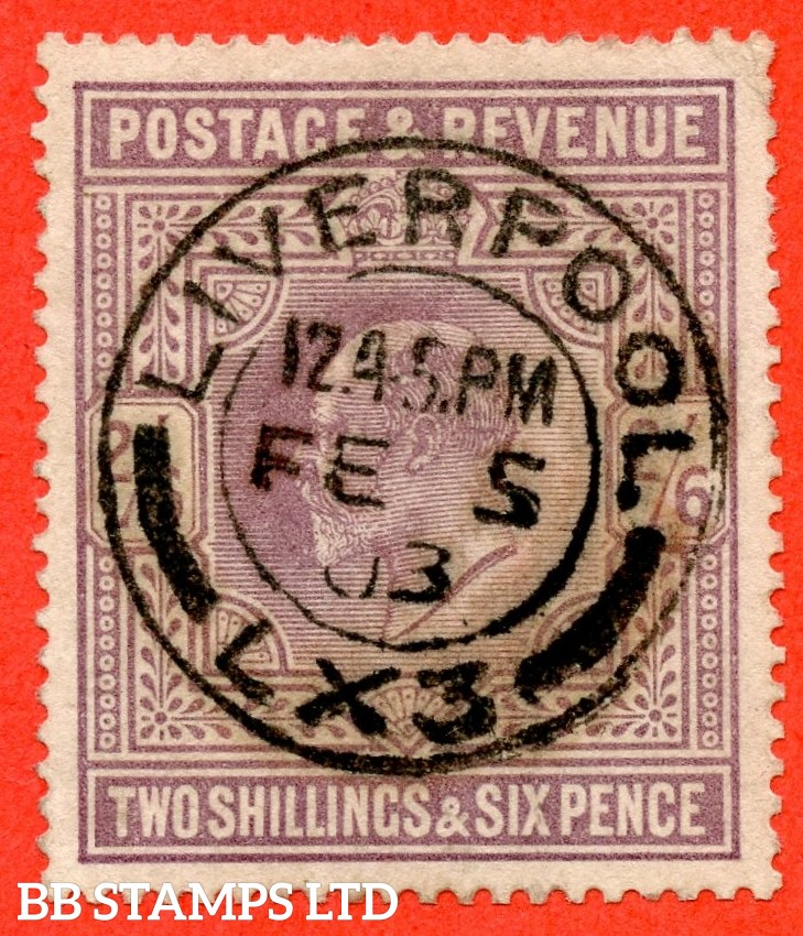 "SG. 260. M48 (1). 2/6 Lilac. A superb upright "" 5th February 1903 LIVERPOOL 1903 ROCHDALE "" CDS used example."
