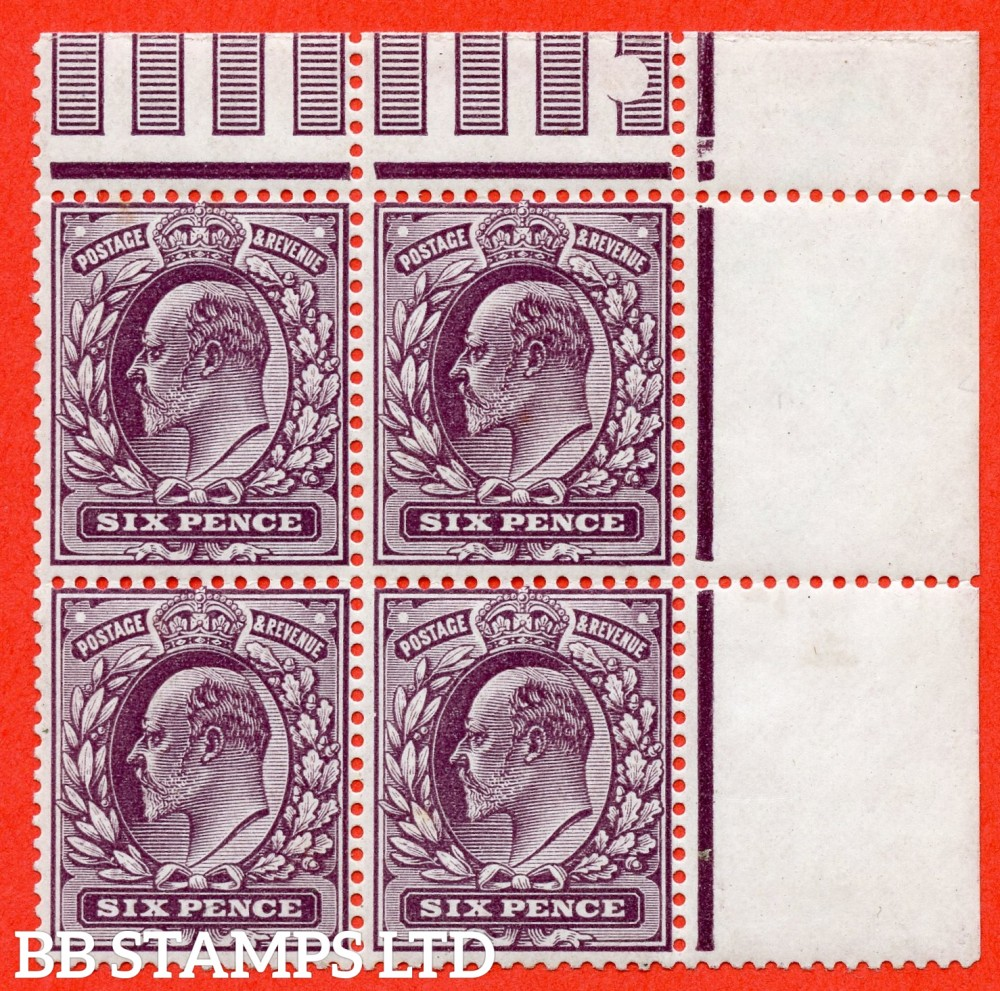"SG. 303 a. M36 d. 6d Deep Plum ©. A super UNMOUNTED MINT posistional block of 4. The top left  hand stamp with the RARE variety "" No Cross On Crown. Pl. 9 row 11/11 ""."