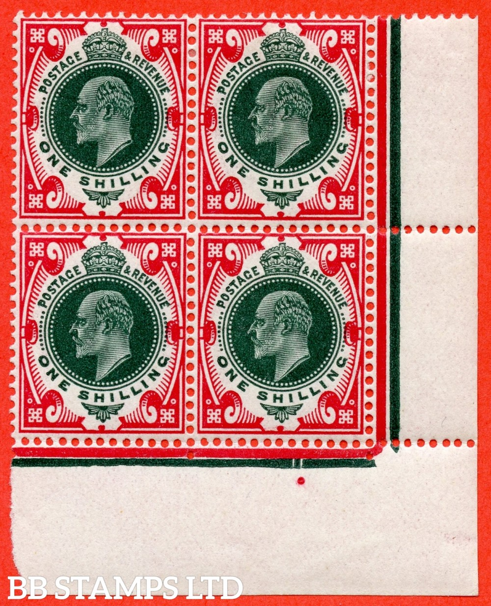 SG. 314. M47 (5). 1/- Green & Carmine. A very fine mint ( 2 stamps UNMOUNTED MINT ) bottom right hand corner marginal block of 4.