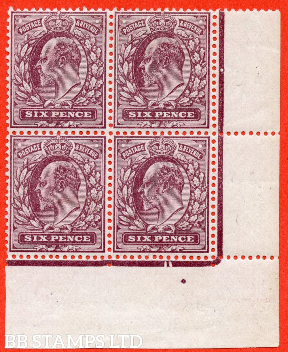 SG. 297. M33 A (1). 6d Dull Purple. A very fine mint ( 3 stamps UNMOUNTED MINT ) bottom right hand corner marginal block of 4.