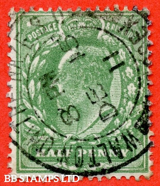 "SG. 279 a. Variety M4 (3). ½d Deep Dull Green (Very blotchy print). A very fine "" 15th December 1911 WALTON ON THAMES "" CDS used example of this scarce Edwardian shade."