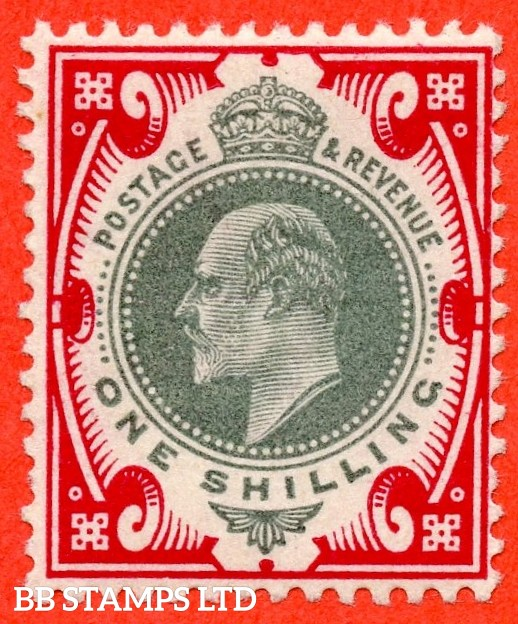 SG. 257 variety M45 ( UNLISTED ). 1/- Dull Green & Deep Bright Carmine. A super lightly mounted mint example of this known but unlisted by SG. Edwardian shade variety. Complete with Hendon certificate.
