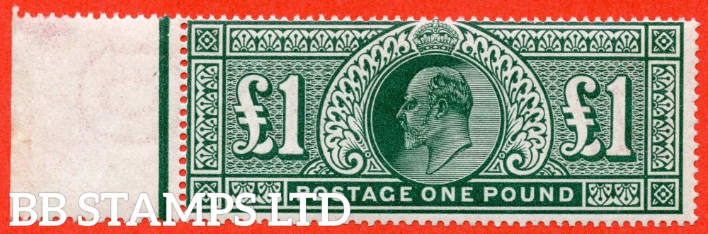 SG. 320. M56. £1.00 Deep Green. A superb UNMOUNTED MINT left marginal example