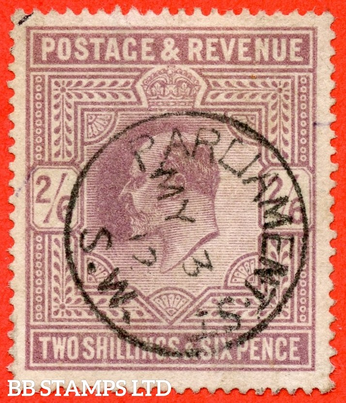 "SG. 315. M50 (1). 2/6 Dull Greyish - Purple. A very fine "" 3rd May 1912 PARLIAMENT STREET "" CDS used example."