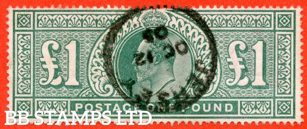 "SG. 266. M55. £1.00 Dull blue - green. A fine "" October 12th 1905 JERSEY "" CDS used example."