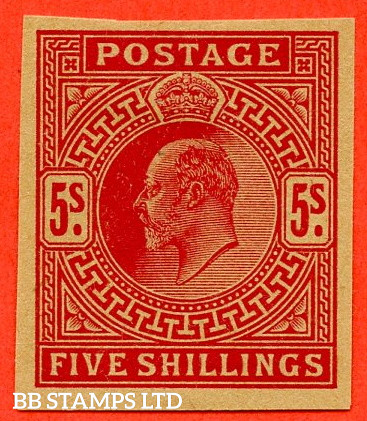 SG. 263. M51 (1). 5/- bright carmine. PLATE PROOF on poor quality buff paper. A fine 4 margin example.