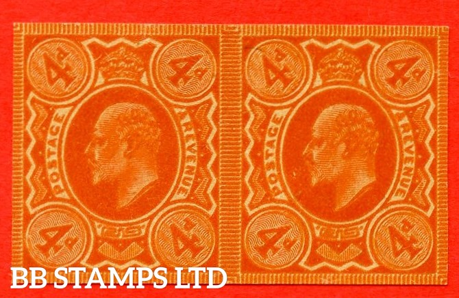 SG. 240. 4d orange on poor quality buff paper. PLATE PROOF. A fine 4 margin horizontal pair poor quality buff paper..
