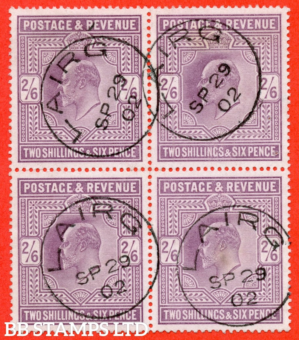 """SG. 260. M48 (1). 2/6 Lilac. A superb """" 29th September 1902 LAIRG """" CDS used block of 4. A scarce multiple this fine."""