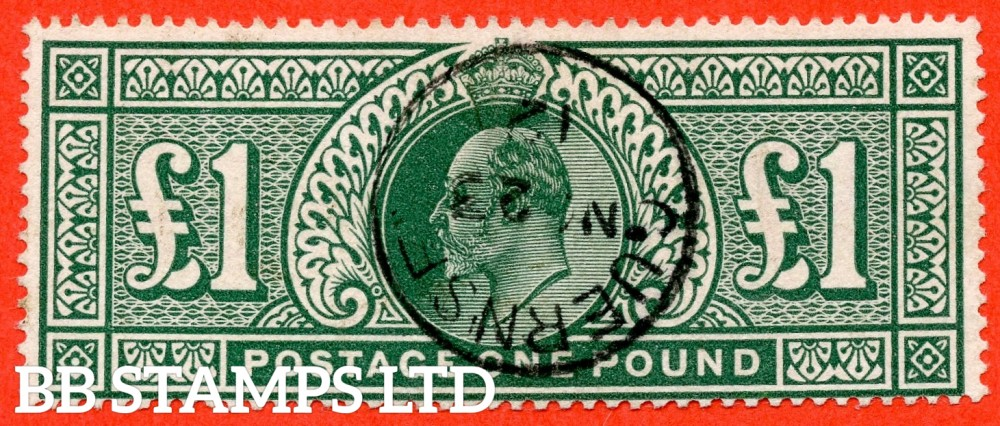 "SG. 320. M56. £1.00 Deep Green. A very fine "" November 23rd 1912 GUERNSEY "" CDS used example."