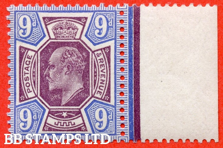 SG. 308. M41 (4). 9d Slate Purple & Cobalt Blue. A superb mounted mint right hand marginal example complete with HENDON certificate.