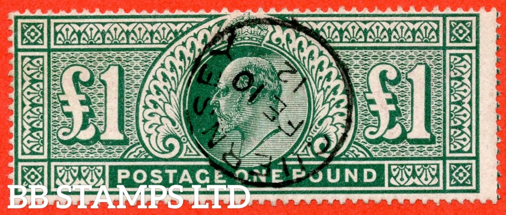 "SG. 320. M56. £1.00 Deep Green. A very fine "" February 10th 1912  GUERNSEY "" CDS used example."