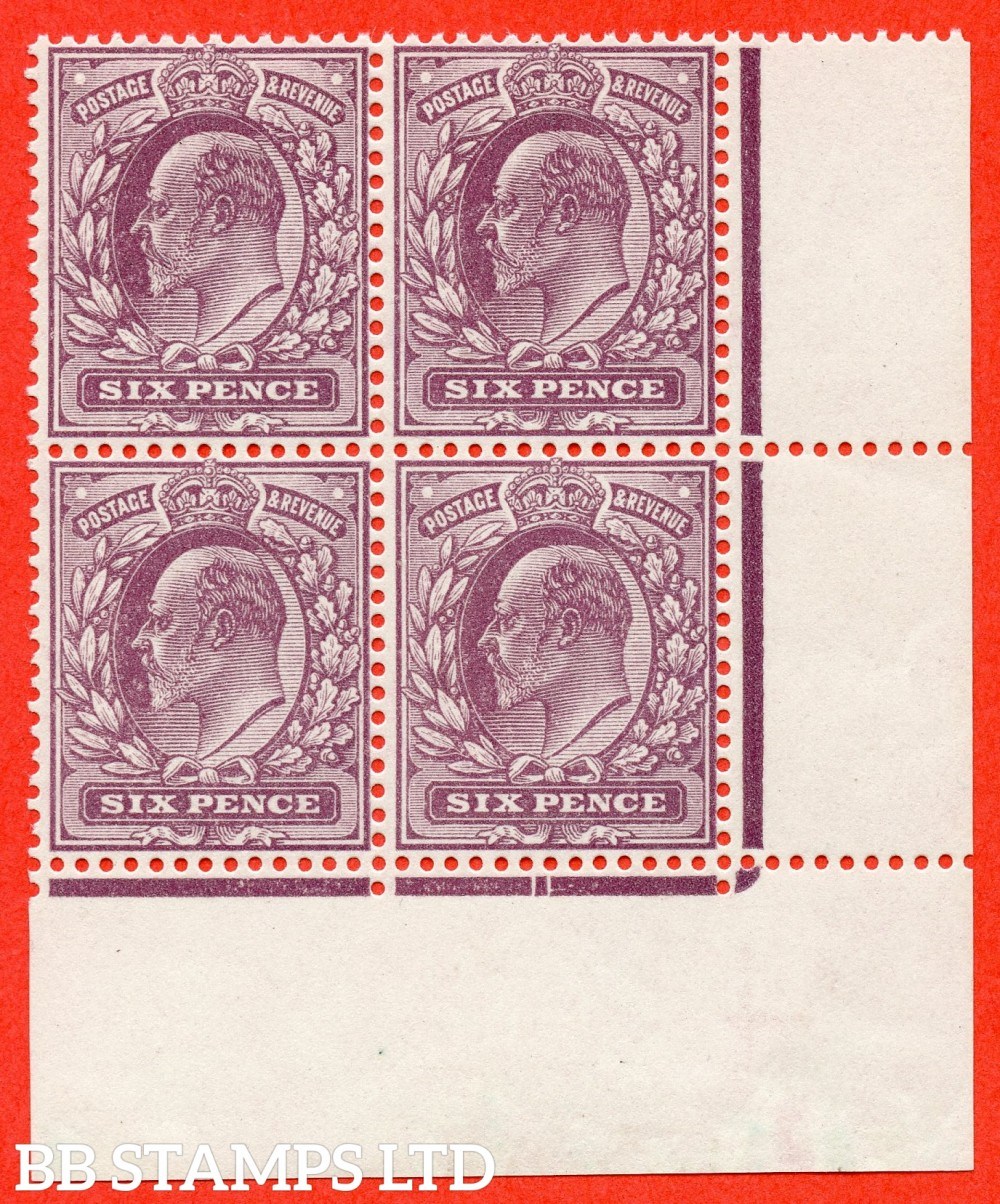 "SG. 301. M34 (1). 6d Dull Purple "" Dickinson Paper "". A very fine UNMOUNTED MINT bottom right hand corner marginal block of 4. A RARE multiple."