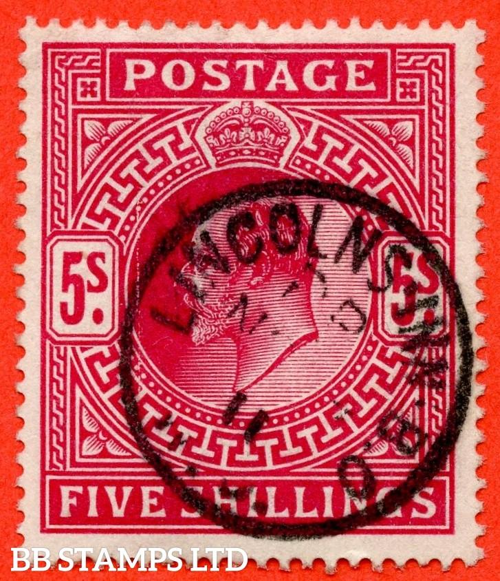 "SG. 264. M51 ( 2 ). 5/- Deep Bright Carmine. A very fine "" November 1911 LINCOLNS INN "" CDS used example."