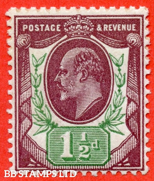 SG. 287 variety M10 ( UNLISTED ). 1½d DEEP Dull Reddish Purple & Green.  A superb UNMOUNTED MINT example of this known but unlisted by SG. Shade variety complete with Hendon certificate.