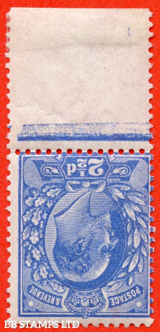 SG. 276 wi.  M17 (2) a. 2½d Bright Blue. INVERTED WATERMARK. A superb UNMOUNTED MINT bottom marginal example of this RARE Edwardian watermark variety.