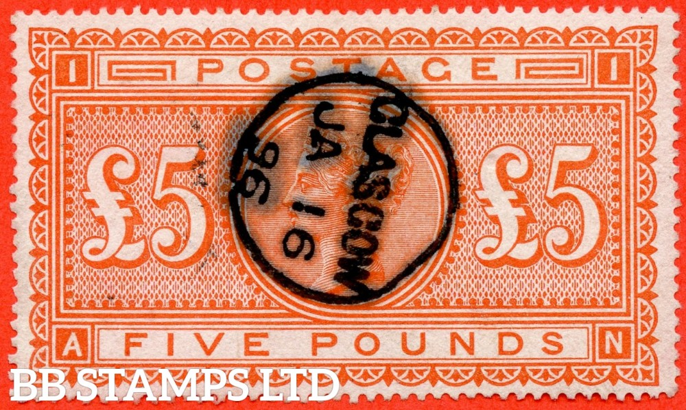 "SG. 137. J128a. "" AN "". £5.00 Orange. A fine used "" January 16th 1896 GLASGOW "" CDS used example."