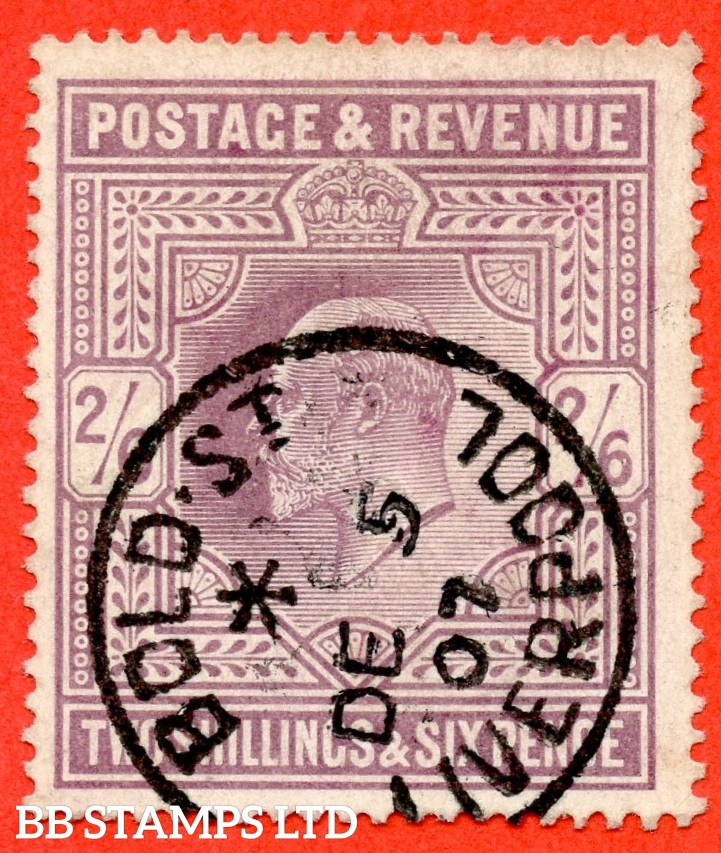 "SG. 261. M49 (1). 2/6d Pale Dull Purple ©. A super "" 5th December 1907 LIVERPOOL "" CDS used example."